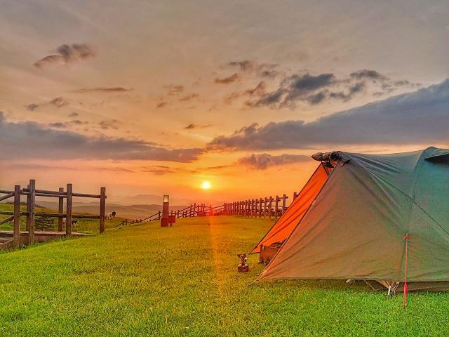 キャンプ夕日