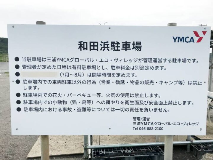 和田長浜海岸 駐車場看板