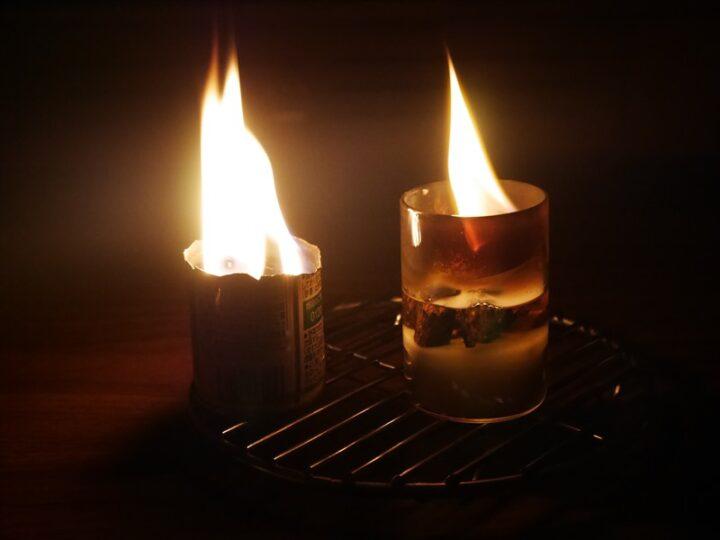 直火OKの耐熱グラスで作る焚き火ろうそく スチール缶と比較