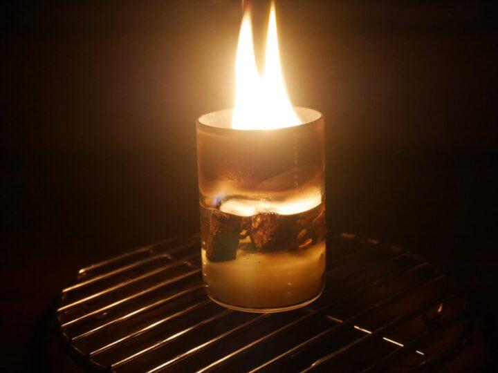 直火OKの耐熱グラスで作る焚き火ろうそく すすがつく