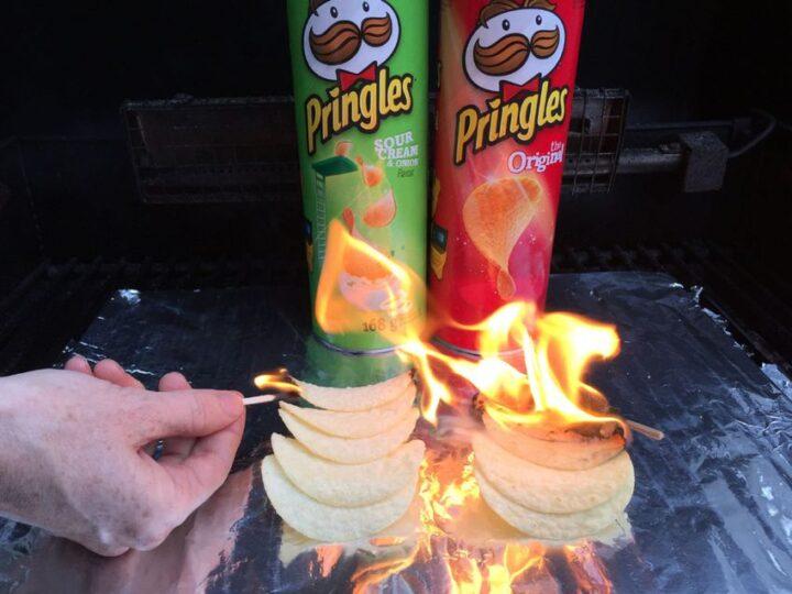 ポテトチップスを燃やす