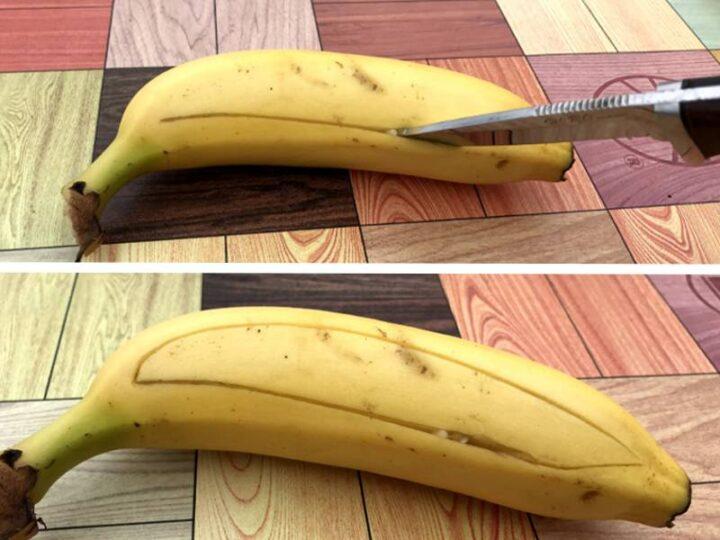 キャンプで焼きバナナ 皮の剥き方2