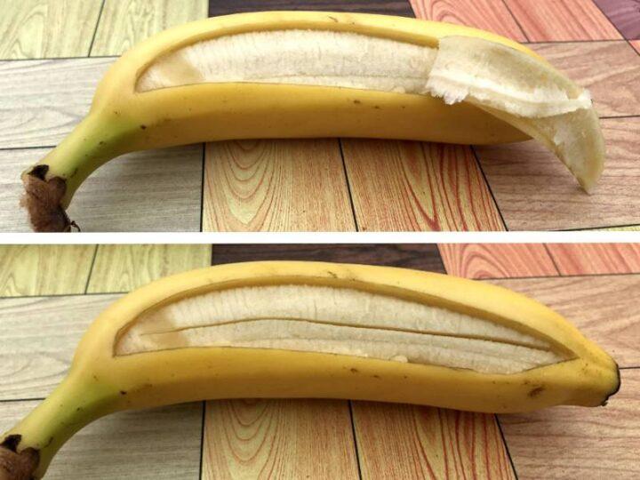 キャンプで焼きバナナ 皮の剥き方