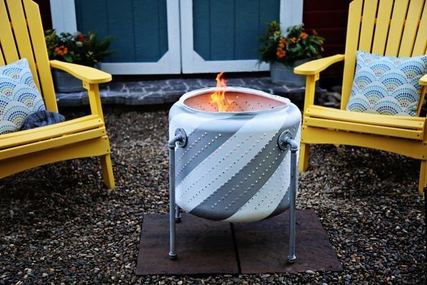 世界の面白い焚き火台 洗濯機ドラム 模様