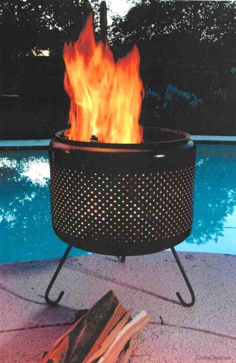 世界の面白い焚き火台 洗濯機ドラム黒