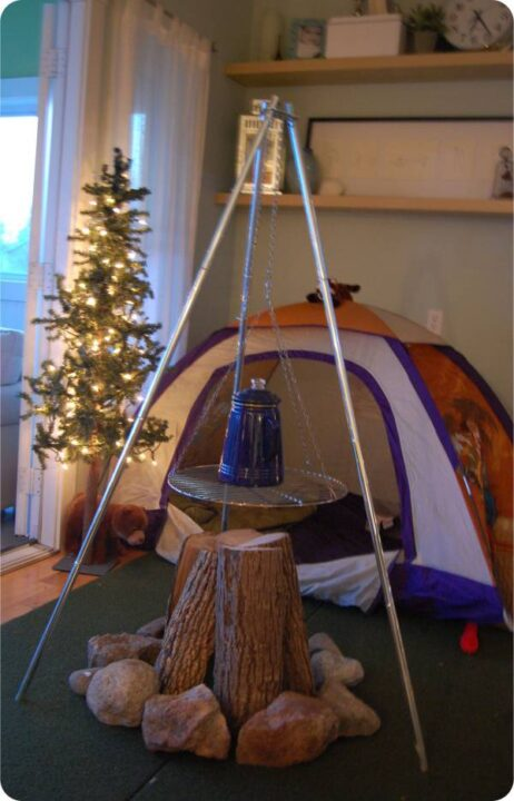 クリスマス キャンプ 部屋で