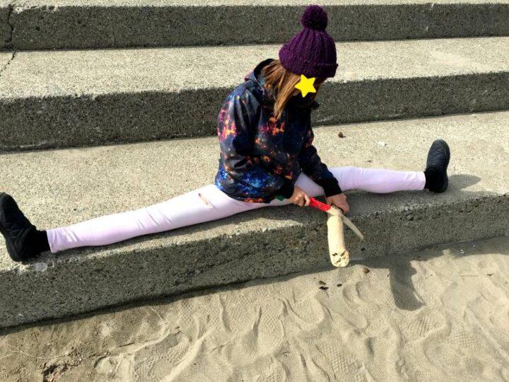 三浦海岸 開脚キャンパー 流木を切る デイキャンプ