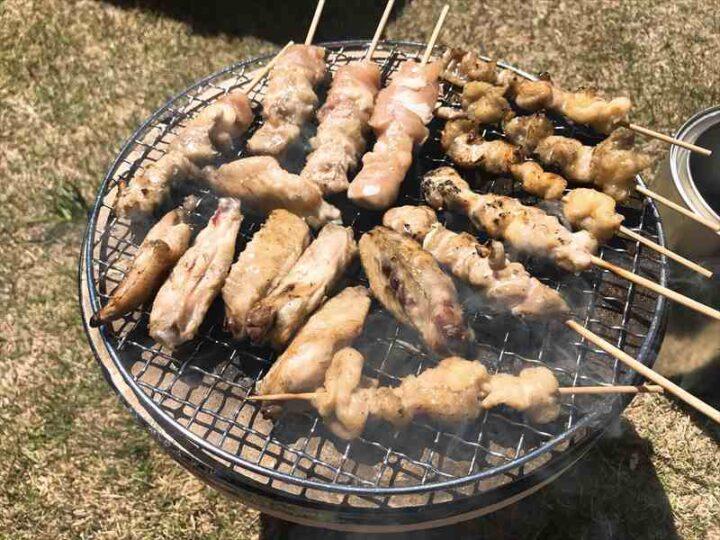 庭 キャンプ 七輪 焼き鳥