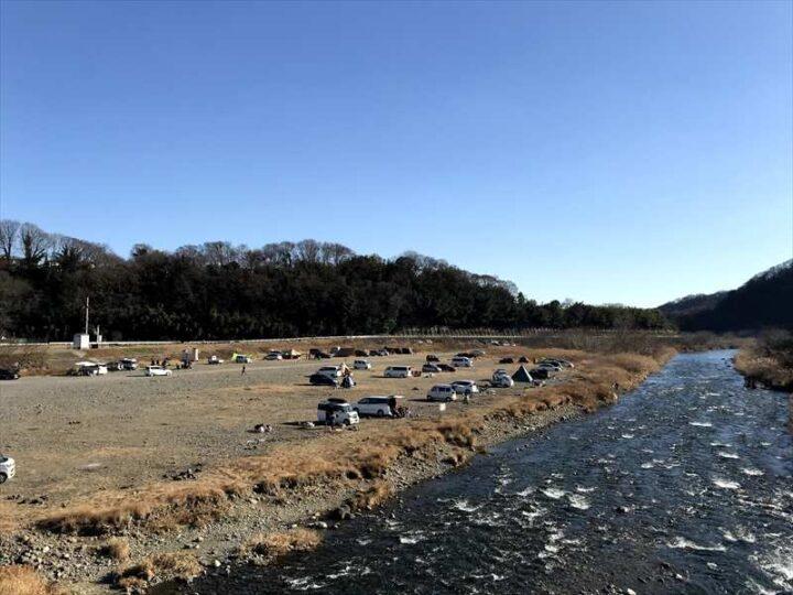 中津川八菅橋下 キャンプ
