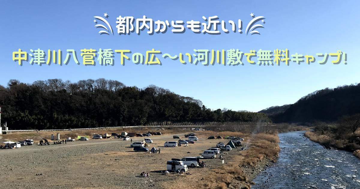 中津川八菅橋下の河川敷で無料キャンプ!都内から近いのに自然沢山です!