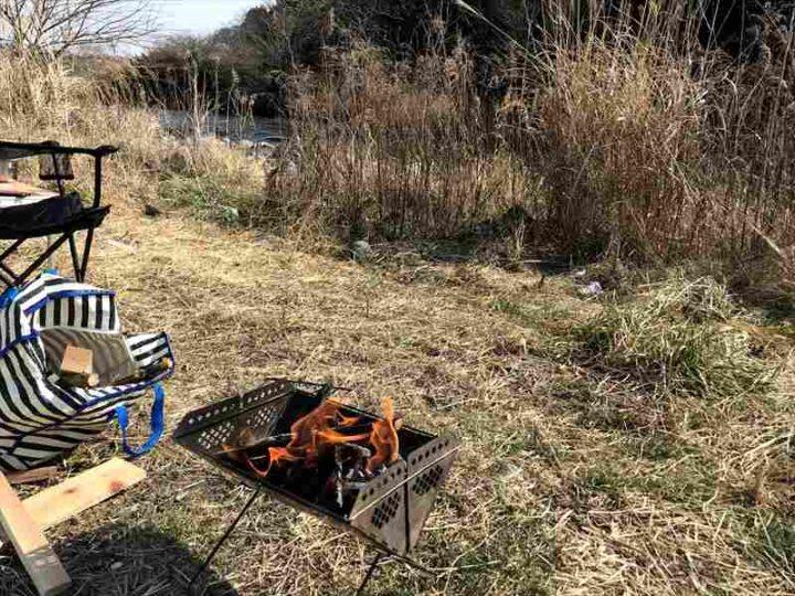 角田大橋 キャンプ 焚き火