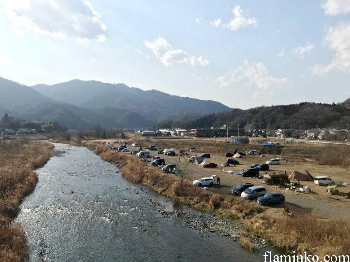 中津川河川敷 角田大橋 キャンプ