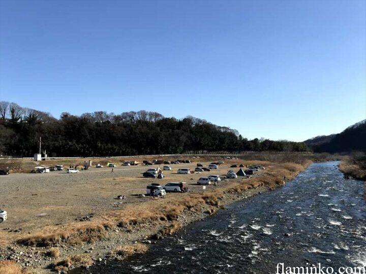 中津川河川敷 八菅橋 キャンプ