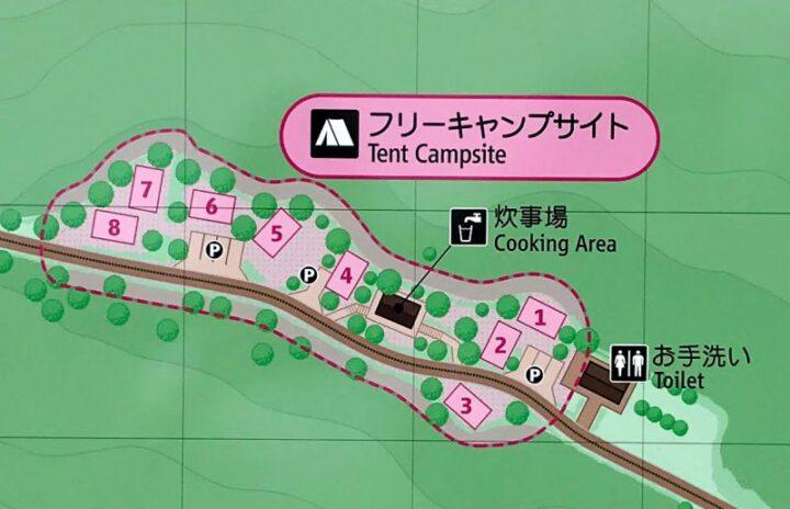 だるま山高原キャンプ場 案内図 フリーキャンプサイト
