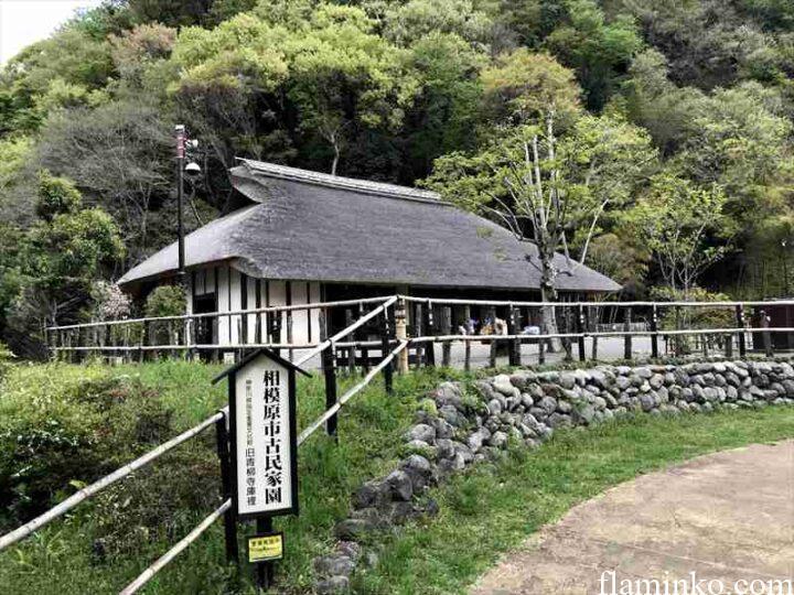 上大島キャンプ場 かやぶき屋根
