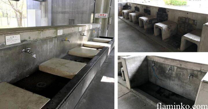 上大島キャンプ場 炊事場 洗い場