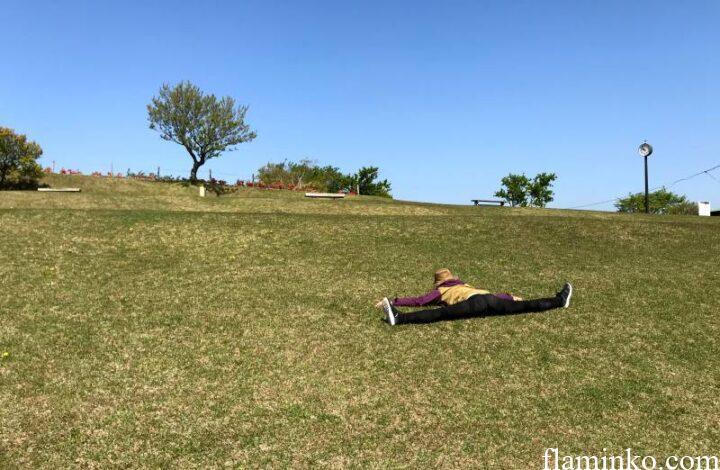 田代青少年自然の家 芝生と開脚キャンパー