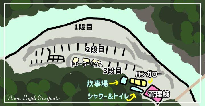 青野原野呂ロッジキャンプ場 案内図